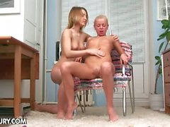 Gloria miller and cybill go lesbo on a chair