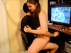 Pigtailed brunette teen with sexy legs rides her boyfriend's hard dick