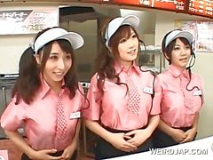 Asian busty teen trio flashing tits at the fast food