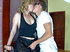 Nerdy dude seduces blonde milf