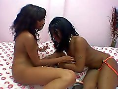 Lesbian ebony teens like to swap dildo