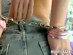 Hundcuffed Teen Ivy Winters gets skull fucked