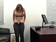Redhead Katie auditions for Backroom Casting Couch