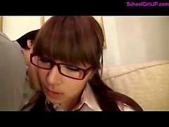 Schoolgirl With Glasses Getting Her Tits Rubbed Pussy Stimulated With Vibrator Licked On The Couch