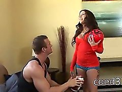 hot sporty babysitter fuck on coach