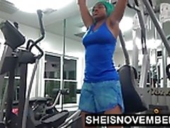 Fit Ebony Work Out Naked In Gym Then Gives Stranger Blowjob