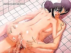 Anime teen fucked in the shower gets pussy wet