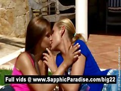 Lovely blonde and brunette lesbians kissing and having lesbian sex