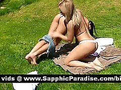 Adorable brunette and blonde lesbos licking pussy and having lesbo sex outdoor