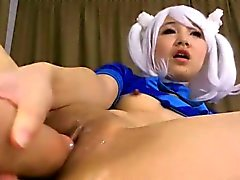 Flex asian teen gets intense squirting orgasm