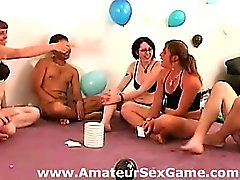 Group of naked amateurs play sexy party game