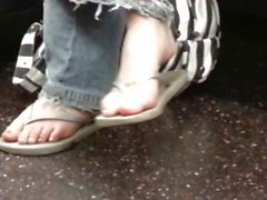 Candid Nerdy Teen Flip-Flop Feet Shoeplay on Bus