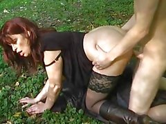 German MILF Fucked in Garden by Young man