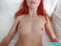 Date Slam - Freckle-faced redhead gets shaved pussy stuffed - Part 1