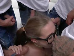 Hussie Auditions: Hot Brunette Carolina Sweets' First 5 guy Gangbang