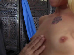 Stunning Megan plays with a big cock