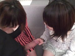 Subtitled POV Japanese CFNM threesome blowjob in Full HD