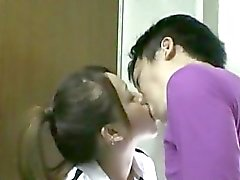 Asian Girl In Training Dress Sucking Cock Licked And Fingered Fucked From Behind In The Toilette