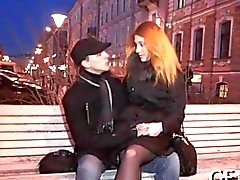 Slutty Russian girlfriend brings a stranger home