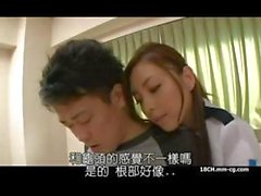 Young Asian nurse pays a house call and jerks his censored meat