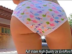 Slim teenie washes her car in undies