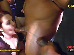 Piss covered amateurs sucking cock in gangbang