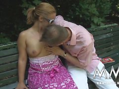 German girl giving head in a public park in berlin