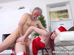 Teen Christmas cutie fucked by an old dick