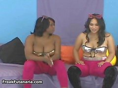Black and Latina babe stroking their part4