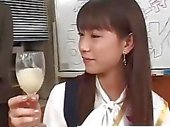 Real asian teen drink cum from a glass in reality groupsex