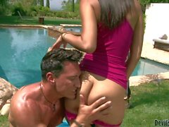 Babysitter Nadia Noel gets her clean pussy pounded in the sun