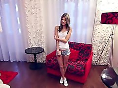 Skinny small Russian teen casting interview.