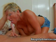 Tanned blonde milf Kristal Summers seduces young boy Seth