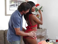 Naughty Ebony Chanell rides a massive white cock deep