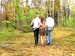Amateur czechian threesome in the forest