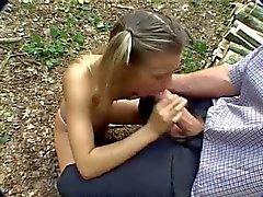 Pigtailed teen fucked hard in the woods