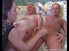 Two Old Men Have Fuck With Brunette