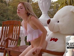 Teen girl Tracy fucked by ritch teddy bear at the villa