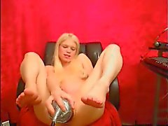 Hot webcam girl using huge toys