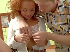 Cute Redhead Teen Anal on Chair