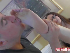 Nerdy Teen Gives Footjob in Glasses for FuckedFeet!