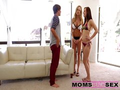 Surprise threesome with his step mom