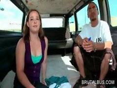 Teen girl dares to join the sex bus guys for a ride