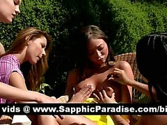 Superb lesbos kissing and getting naked in a great four way lesbo orgy