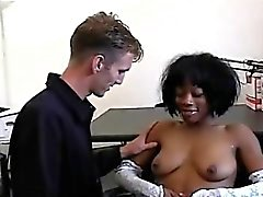 This young black beauty gets seduced by a horny white perv.