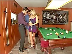 Blonde exposes pussy and gives BJ on pool table