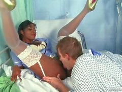 Sexy black nurse help her pacient fucking his dick