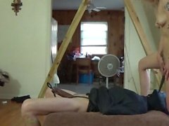 Bound guy gets Cbt, face sitting, drinks piss and a cream pie reward