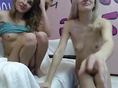 Teen lesbian hotties lick cream of body
