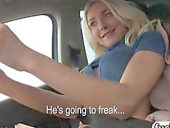 Sexy blonde teen hitchhiked and fucked hard in a car
